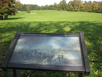 Battle of Princeton - Site of Joseph Moulder's battery. Mawhood's British troops attacked uphill toward this position.