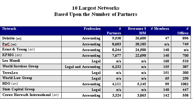 Professional services networks largest