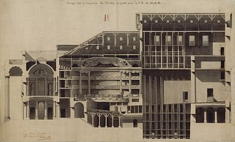 Opéra de Marseille - Cross-section, drawing by the architect Charles Joachim Bénard, 1784