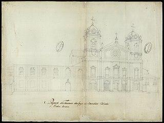 Prospecto da frontaria da Igreja dos Carmelitas Calçados e Ordem Terceira
