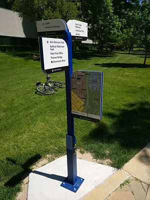 Prototype - Prototype signage on the Boise Greenbelt testing for rust, paint-fastness, durability, etc.