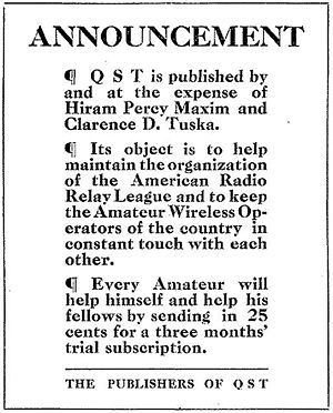 Clarence D. Tuska - Announcement about the establishment of QST magazine that appeared in the debut December 1915 issue