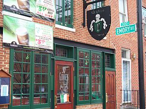 History of the Irish in Baltimore - Quigley's Half-Irish Pub located in Ridgely's Delight, March 2009.