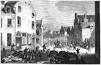 Fighting between Belgian rebels and the Dutch military expedition in Brussels in September 1830 Revolution belge de 1830 - La rue de Flandre le jeudi 23 septembre 1830.jpg