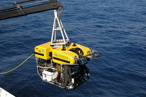 History of marine biology - A science ROV being retrieved by an oceanographic research vessel.