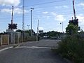 Rainham station (Essex) level crossing redundant look north open.JPG
