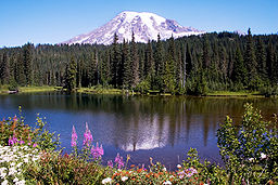 Mount Rainier med Reflection Lake i förgrunden.