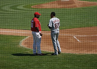 Randall Simon - Simon (left) and Jair Jurrjens on March 11, 2007