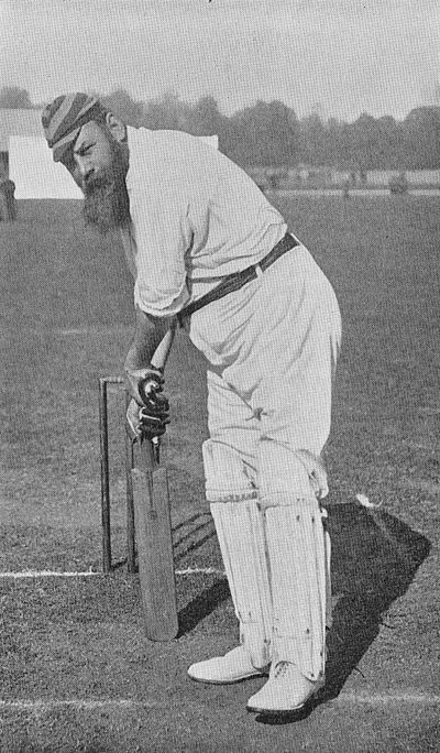 Ranji 1897 page 170 W. G. Grace playing back defensively.jpg