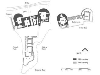 Ravenscraig Castle - Plan of Ravenscraig Castle  Key: A=Postern B=Cellar C=Entrance passage D=Guard room E=Chamber F=Stair down