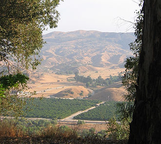 San Timoteo Canyon - View from Redlands of orange groves in San Timoteo Canyon.