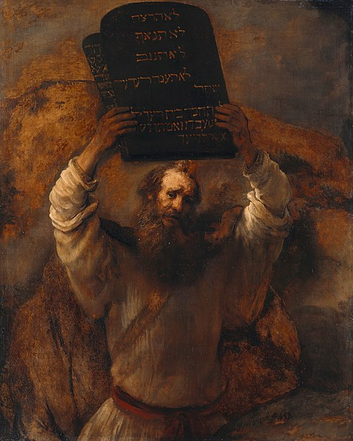Moses Breaking the Tablets of the Law (1659) by Rembrandt Rembrandt - Moses with the Ten Commandments - Google Art Project.jpg
