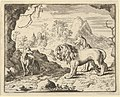 Renard Convinces the Lion and Lioness of Finding a Treasure His Father Stole from Them from Hendrick van Alcmar's Renard The Fox MET DP837718.jpg
