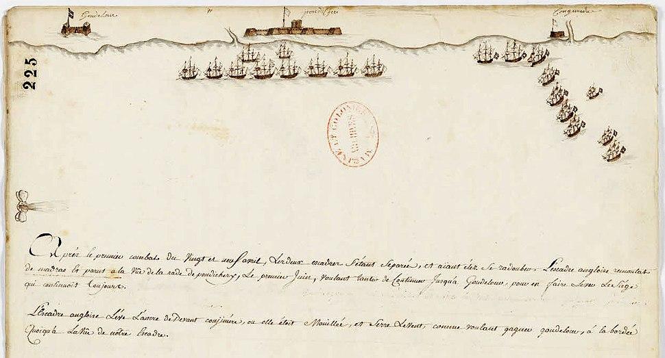 Représentations des positions des escadres des navires français et anglais devant Pondichéry (sud–est de l'Inde) - Archives Nationales - MAR-B-4-77 fol 277 - (1)