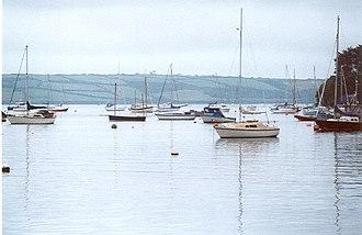 Restronguet Creek - Sailing boats moored in Restronguet Creek