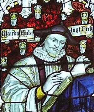Richard Hakluyt - Hakluyt depicted in stained glass in the west window of the south transept of Bristol Cathedral – Charles Eamer Kempe, c. 1905.