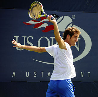 Richard Gasquet - Gasquet after hitting a backhand at the 2009 US Open.