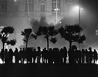 Rioters outside San Francisco City Hall, May 21, 1979, reacting to the voluntary manslaughter verdict for Dan White