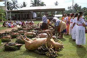 Culture of Wallis and Futuna - Roasted pigs of Wallis and Futuna on St. Chanel Day