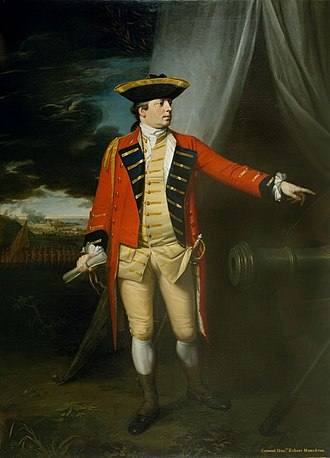 Robert Monckton - Major-General The Honourable Robert Monckton, at the Taking of Martinique, 1762 : by Benjamin West. This is the first full-length portrait ever painted by West, and was commissioned to celebrate this great victory.