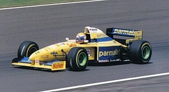 Forti - Roberto Moreno driving the FG01 at the 1995 British Grand Prix. He retired on lap 48 when the car's hydraulic pressure dropped.