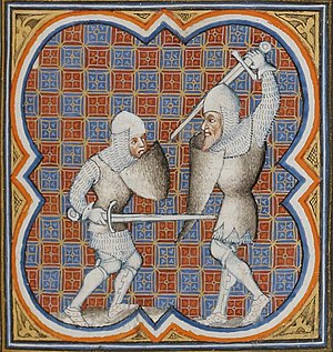 Ferragut - Combat of Roland and the giant Ferragut. Illuminated miniature from Grandes Chroniques de France, c1375-1380 (BnF Français 2813, fol. 118)
