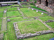 The remains of the Roman baths at Jewry Wall