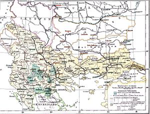 Aromanians - Map showing areas with Romanian schools for Aromanians and Megleno-Romanians in the Ottoman Empire (1886)