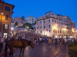 Landmark Trust - The Spanish Steps, seen from Piazza di Spagna, Italy. John Keats lived in the house in the right foreground.