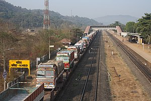 Rolling highway - Trucks on the Konkan Railway Rolling Highway
