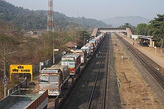 Rolling highway - Trucks on the Konkan Railway Rolling Highway