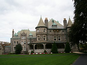 Rosemont College - Side view of the Main Building at Rosemont College, listed on the National Register of Historic Places as Joseph Sinnott Mansion.