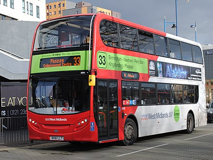 National Express West Midlands operates all major bus routes in Birmingham Route 33.jpg