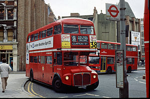 London Forest - AEC Routemaster on route 38 at Tottenham Court Road station in 1991