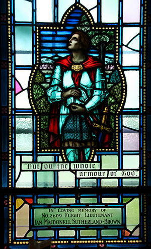 Armor of God - Royal Military College of Canada memorial window Sir Lancelot wearing the whole Armour of God