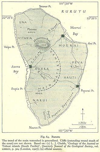 Rurutu - Map of Rurutu c. 1927