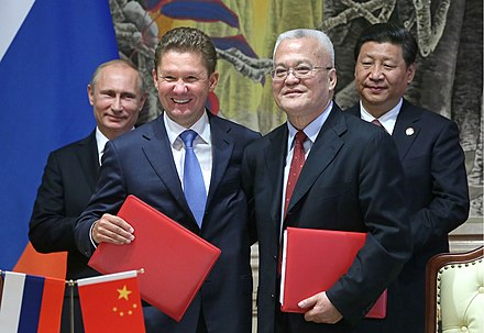 On 21 May 2014, Russia and China signed a $400 billion gas deal. Starting 2019 Russia plans to provide natural gas to China for the next 30 years. Russia and China sign major gas deal.jpeg