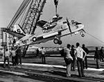 S-2E Tracker of VS-31 is hoisted aboard USS Intrepid (CVS-11) in September 1969.jpg