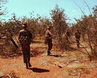 Namibia - South African troops patrol the border region for PLAN insurgents, 1980s.