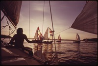 SAILBOAT RACE BY MEMBERS OF THE TACOMA YACHT CLUB ON PUGET SOUND ON AN ALMOST WINDLESS EVENING - NARA - 552345.tif