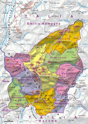 Geography of San Marino - A map of San Marino
