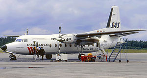 SAS Commuter - A Fokker F27-600 Friendship at Stockholm Arlanda Airport in 1987