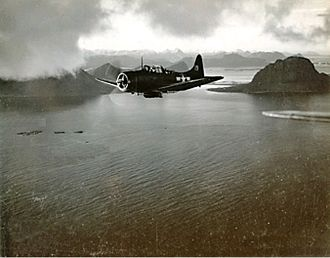 Operation Leader - A US Navy Dauntless dive bomber flying near the Norwegian coast during Operation Leader