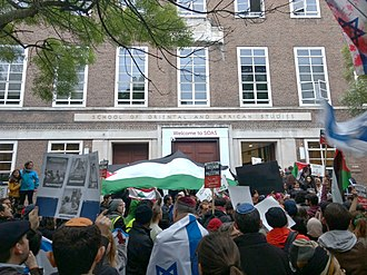 Boycott, Divestment and Sanctions - A BDS demonstration outside the School of Oriental and African Studies in London, April 2017.