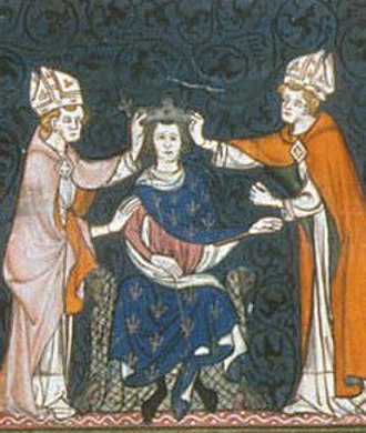 Louis the Stammerer - 14th-century depiction of Louis's coronation