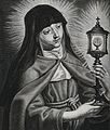 Saint Clare of Montefalco. Line engraving by H. Weyen after Wellcome V0031892.jpg