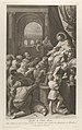 Saint Job seated at right receiving the gifts of the people, archway at left, after Reni MET DP841325.jpg