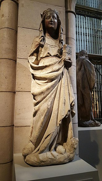 Margaret the Virgin - Saint Margaret of Antioch, limestone with paint and gilding, Burgos, (ca. 1275-1325). (Metropolitan Museum of Art).