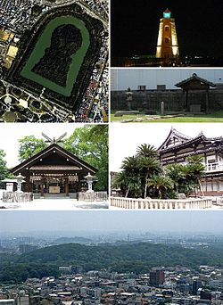 From top left: Daisen kofun, Old Sakai Lighthouse, Ruins of Rikyu's house, Ōtori taisha, Myōkoku-ji, Skyline with Daisen kofun in the center