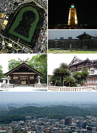 Sakai - From top left: Daisen Kofun, Old Sakai Lighthouse, Ruins of Rikyu's house, Ōtori taisha, Myōkoku-ji, Skyline with Daisen kofun in the center